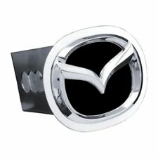 """Mazda Black and Chrome Stainless Steel 2"""" Trailer Tow Hitch Cover"""