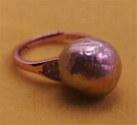 AAA+ HUGE 13-14MM purple pink pearl ring 18K DIY elegant Women Mesmerizing