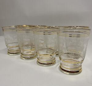 Vintage Glass Set Stag & Deer Design Gold Gilt Edging 60s 70s Retro Glass X 8