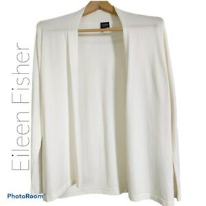 Eileen Fisher PS Open Front Knit Cardigan Ivory