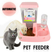 2 in1 Pet Cat Dog Automatic Water Drinker Dispenser Food Feeder Dish Bowl