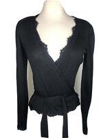 Cache XS Black Knit Wrap Top Shirt Tie Lace Stretch Party Silk Blend