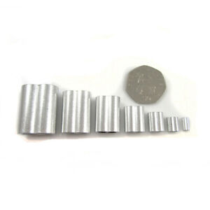 ALUMINIUM CRIMPS 1mm - 8mm *7 SIZES* FERRULES FOR  STEEL WIRE ROPE CABLE UK