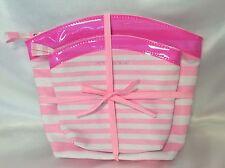 Victoria's Secret Cosmetic Case Make Up Bag Pink White Stripes Travel set ~ NWT