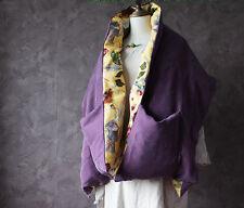 Velvet silk duck down cape jacket purple women winter Oriental element design