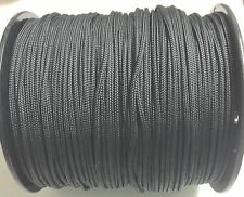 """Solid Braid Nylon Rope 3/16"""" x1000' Black color .Made In USA(SHIP SAME DAY)"""