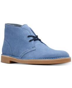 $110 Clarks Men's Mid Blue Suede Bushacre 2 Chukka Boots Shoes 9M tau0121
