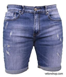 Bermuda Uomo Jeans Pantaloncino Corto Denim Slim Fit Risvolto Pantalone VELON