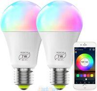 2Pack RGBW Dimmable LED WiFi Smart Lights Bulb 7W Fits Alexa Google Home & IFTTT