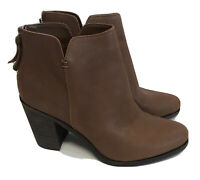 BP Nordstrom Jett Ankle Bootie Brown Leather Stacked Heel 9.5 W NEW