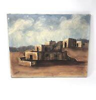 Vintage Signed Original Pueblo Oil Painting on Canvas 16x20 E. Wiesner