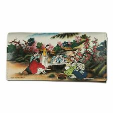 Korean Folk Painting Genuine Leather Women Tri-Fold Clutch Long Wallet Purse