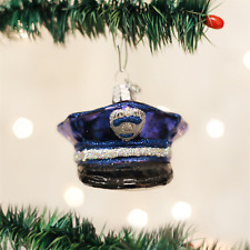 Police Officer's Cap Hat Glass Ornament Old World Christmas NEW IN BOX