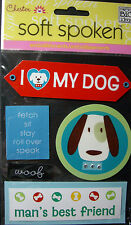 NEW 5 pc I LOVE MY DOG  Fetch Woof Sit Roll Over SOFT SPOKEN  MAMBI 3D Stickers