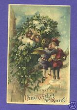 "HTL18 Hold to Light Postcard, ""Kind Wishes For Xmas"" Angels Kissing, Santa"