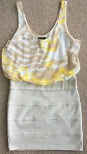 Women's Guess Brand Beige/Yellow/White, Sleeveless, Poly/Rayon/Spandex Dress - M