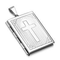 Edelstahl Anhänger Kreuz Bibel Medaillon Halskette Lederkette Kugelkette Damen