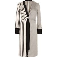EX River island Striped Long Line Kimono Wrap Dress Black Cream(Q 7)