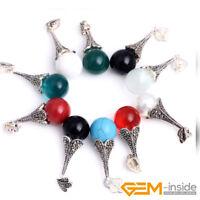 12mm Round Gemstone Beads Tibetan Silver Marcasite Jewelry Charm Pendant 12x42mm