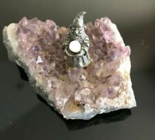 Vintage Pewter Mythical Wizard Purple Amethyst Geode Base w/Magical Crystal Ball