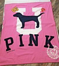 Victoria's Secret Pink University Of Pink Stadium Fleece Throw Blanket Rare Dog