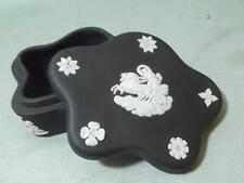 Wedgwood Black Jasperware Lidded Petal Box