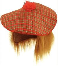 FANCY DRESS TAM-O-SHANTER +HAIR TARTAN SCOTLAND SCOTTISH HAT BURNS NIGHT UK SLR