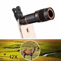 HD 12XOptical Zoom Clip on Camera Len Phone Telescope For Universal Cell Ph_DM
