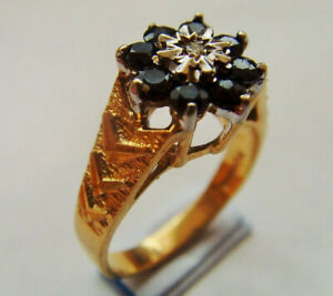 9ct Gold Sapphire & Diamond Cluster Ring UK Size O Hallmarked Chunky Good Weight
