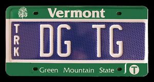 """VERMONT TEST SAMPLE LICENSE PLATE """" DG TG """" GREEN MOUNTAIN STATE TRUCK"""