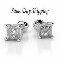 1.00 Carat Princess Cut Diamond Stud Earrings 18k White Gold Screw Back