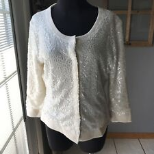 Lafayette 148 New York Cream 100% Wool Sequined Dress Cardigan Sweater M Euc