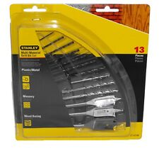 Stanley ST-02106 13-Piece Multi-Material Drill Bit Set Metal Masonry Wood Bits