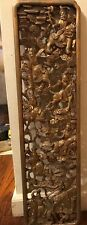 Vintage Chinese Hand Carved Wood Gold Gilded Wall Panel