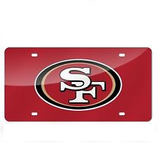 San Francisco 49ers Red Mirrored Laser Cut License Plate Laser Tag