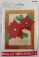 Recollections Light up Card Kit Merriest Wishes Poinsettia Flowers New 2 Cards