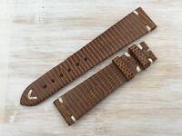 Strap Band New Model Lizard Handmade Vintage Brown Cinturino LIZ04 20mm Elegante