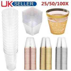 25/50X Square Plastic Dessert Cups Mini Cubes 2oz/60ml Strong Cup Party Decor UK