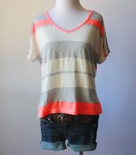 Women's Striped V Neck Oversize Short Sleeve Stretch Knit Tee Shirt Blouse Top M