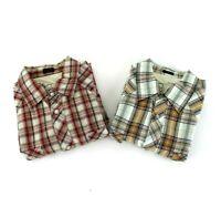 Bullhead Western Style Men's Medium Shirt Pearl Snap Short Sleeve Plaid Check
