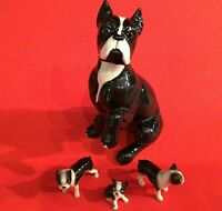 BOSTON TERRIER DOG FIGURINES PORCELAIN LOT OF 4 VINTAGE BLACK AND WHITE PAW UP