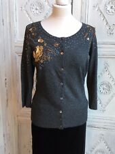 Vintage Monsoon Cardigan - Grey/Embellished Sequins/Beads Grey Size 14 - BNWT
