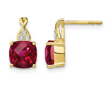3.85 Carat (ctw) Created Ruby Earrings 10k Yellow Gold