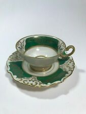 """Eschenbach China Tea Cup and Saucer Green & Gold, Post WWII """"Germany US Zone"""""""