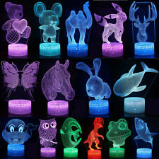 Night Light USB Animals Acrylic 3D Illusion LED Desk Lamp Kids Xmas Gift 7Colour