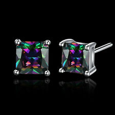 Gold Plated Colorful Zircon Gems Stud Earrings Fashion Women Jewelry Gift Party