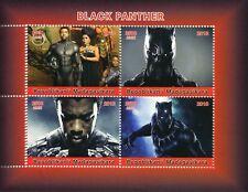 Madagascar 2018 estampillada sin montar o nunca montada Negro Panther 4 V m/s Superheroes Películas sellos de película