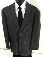 City Streets Men Large Black Gray TWEED Sport Coat 3-BTN Jacket Wool Blazer 44 R
