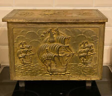Old Antique Edwardian Embossed Brass with Galleon Ships Log Coal Box