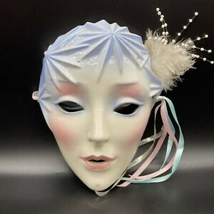 91 Porcelain Winter Mardi Gras Mask Venetian Masquerade San Fransisco USA Signed